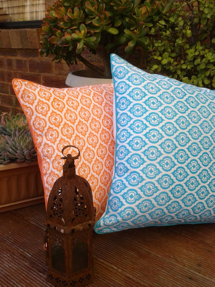 Handscreenprinted linen cushions inspired by old window carvings that Shakira came across during her travels in India earlier this year, hop online & view the range, more colours available & very reasonably priced!