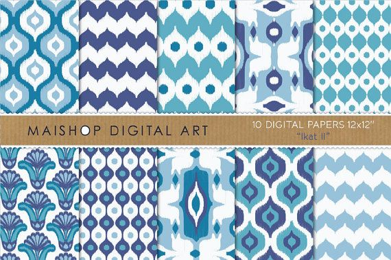 Digital Paper  Ikat II  Blue and White by MaishopDigitalArt