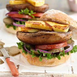 Mushroom and haloumi burgers