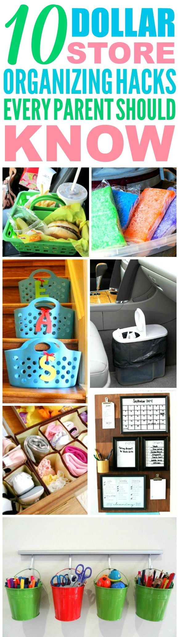These 10 Dollar Store Organization hacks are the best! Now I have a great way to keep my home clean as a parent! I love organization hacks for kids! Definitely pinning!