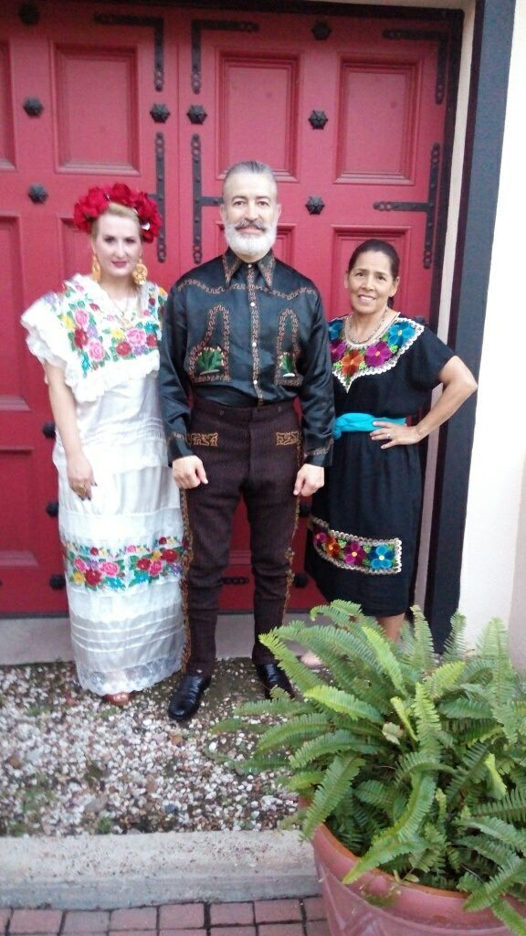 Merida: terno de gala, Yucatan's traditional dress pictured with a Charro at Charro Day, Brownsville Texas