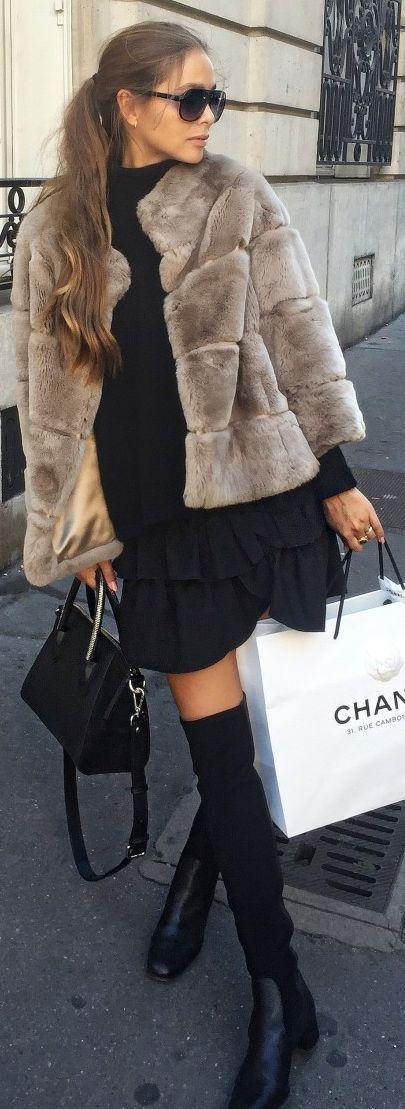 Maria Kragmann Taupe Faux Fur Jacket Fall Inspo
