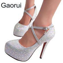 GAORUI plataformas de mulheres de salto alto sapatos de casamento do baile lady cristal Glitter rhinestone sapatos de noiva salto fino lacing bomba partido
