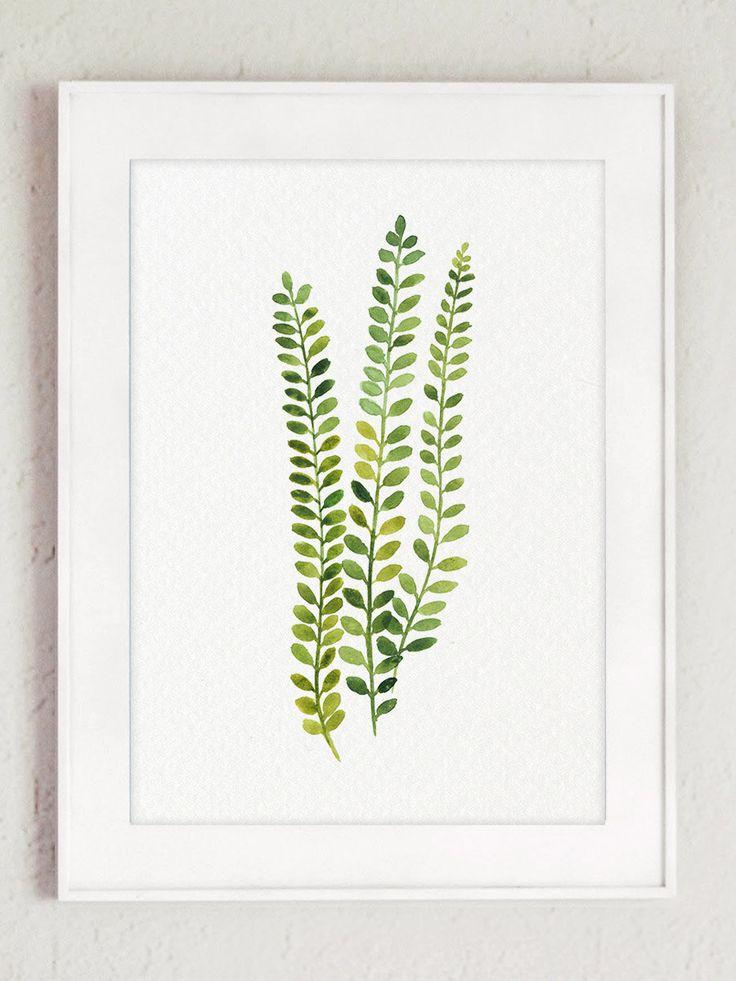 Fern Print Green Botanical Art, Set of 2 Ferns Watercolor Painting, Nature Wall…