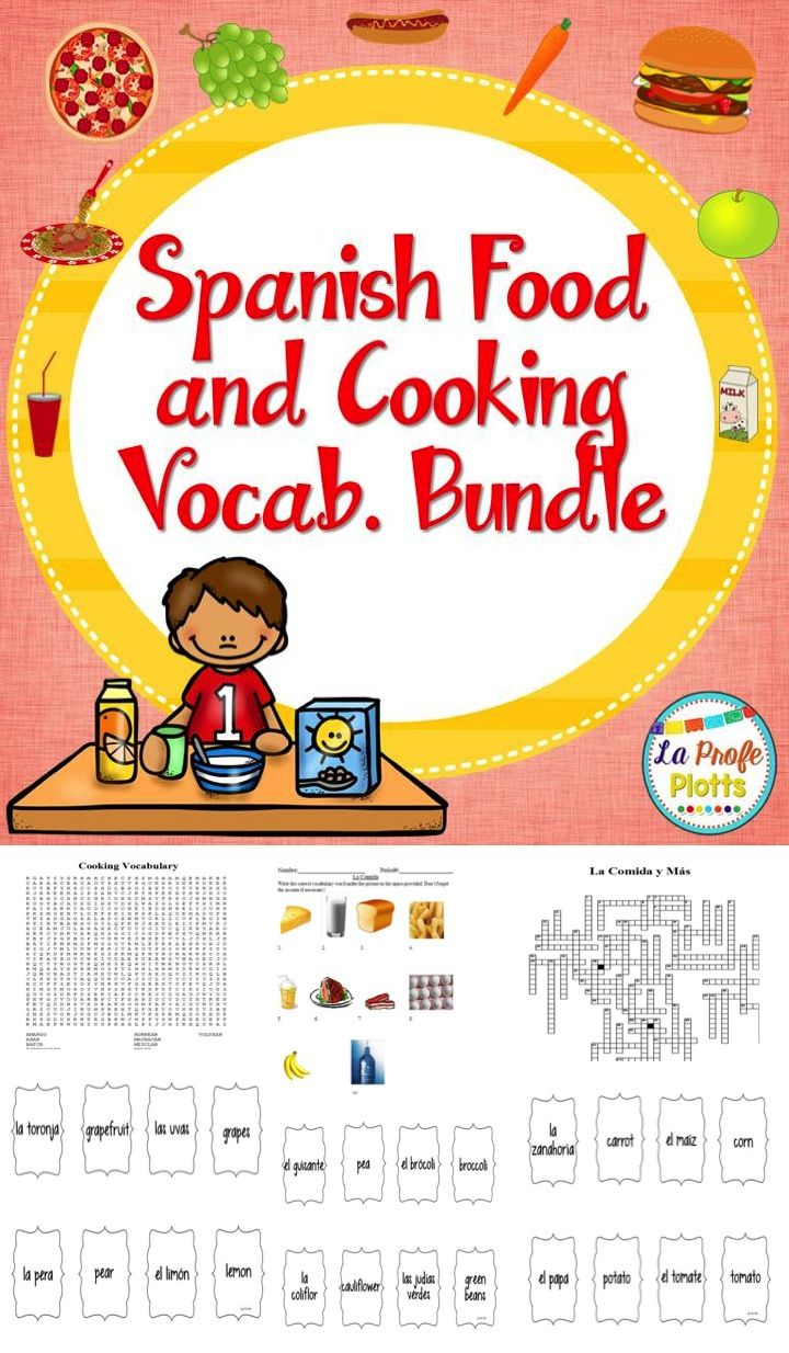 spanish food and cooking vocabulary bundle spanish activities and cooking. Black Bedroom Furniture Sets. Home Design Ideas