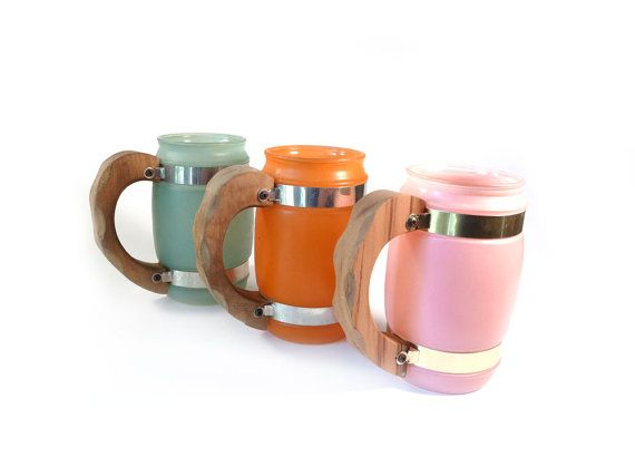 5/30 - Vintage barrel mugs  pink orange and green by reconstitutions, $14.50Pink Orange, Vintage Barrels, Vintage Fabulos, Mugs