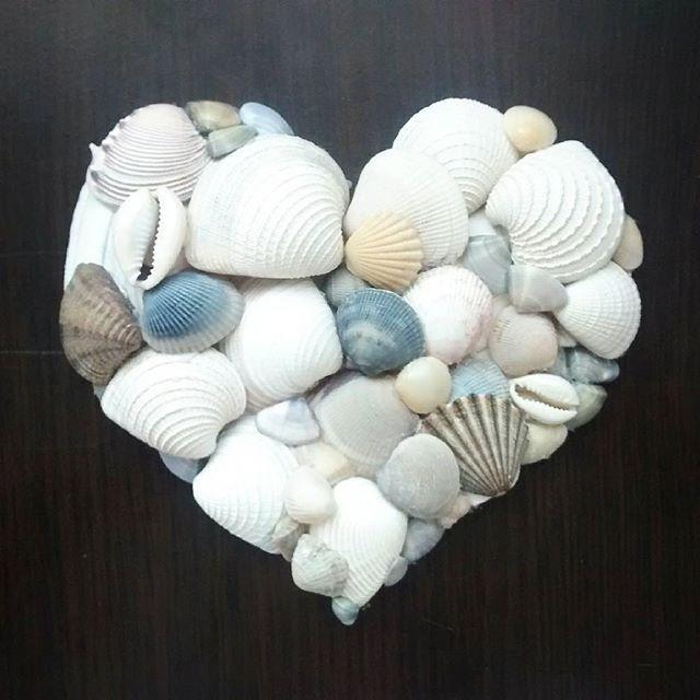 Manualidades con conchas marinas  seashells heart love handmade - hearth - corazón