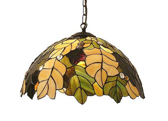 """20,5"""" lampada a sospensione in stile Tiffany. Lampada da soffitto di vetro fatti a mano. Paralume di vetro colorato appeso."""