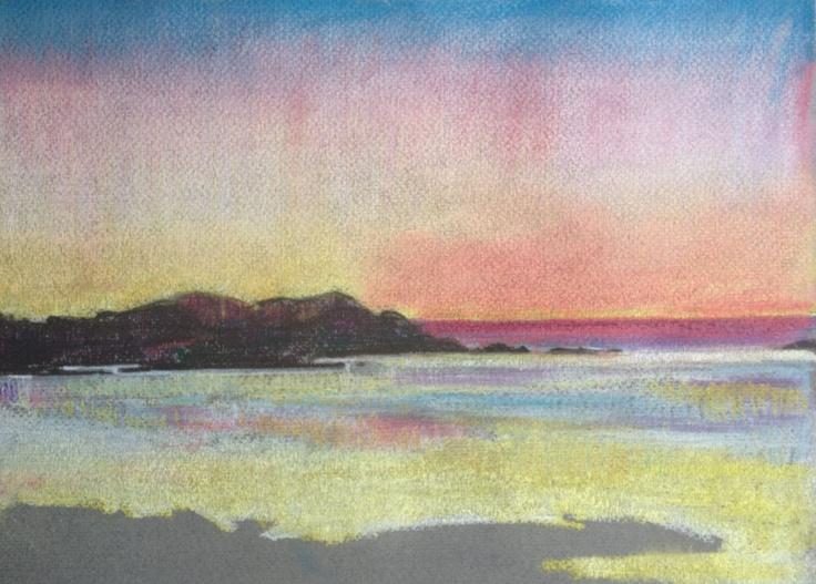 Sanna Bay 1. A4 Pastel Drawing.