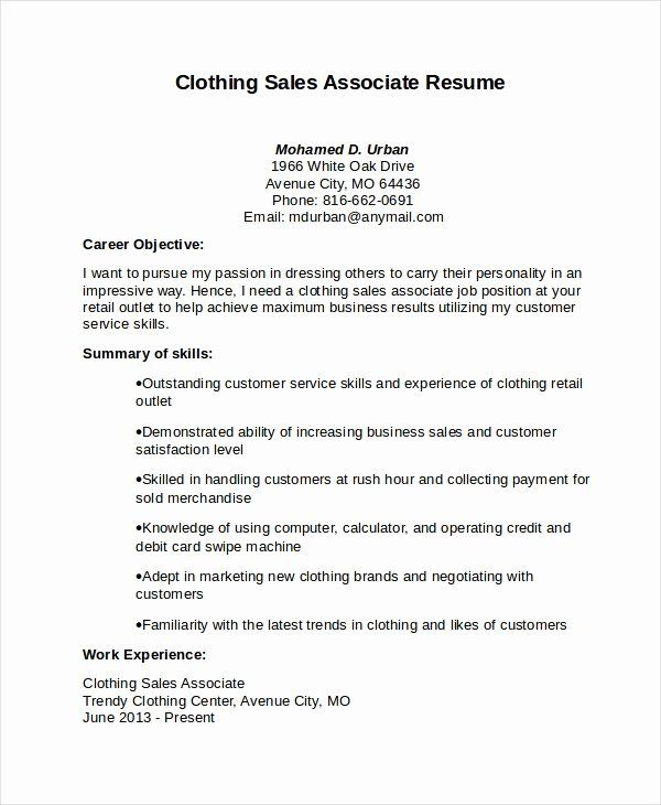 Sales Associate Resume Example Luxury Sales Associate Resume Template 8 Free Word Pd In 2020 Sales Resume Examples Free Resume Template Word Resume Objective Statement