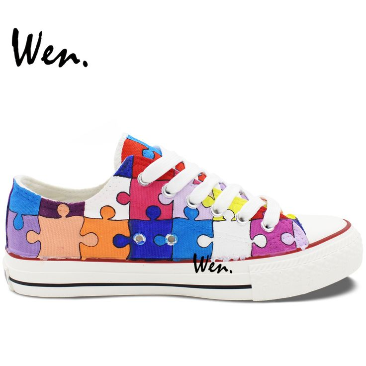 Wen Hand Painted Casual Shoes Custom Design Colorful Puzzle Men Women's Low Top Canvas Shoes Birthday Gifts