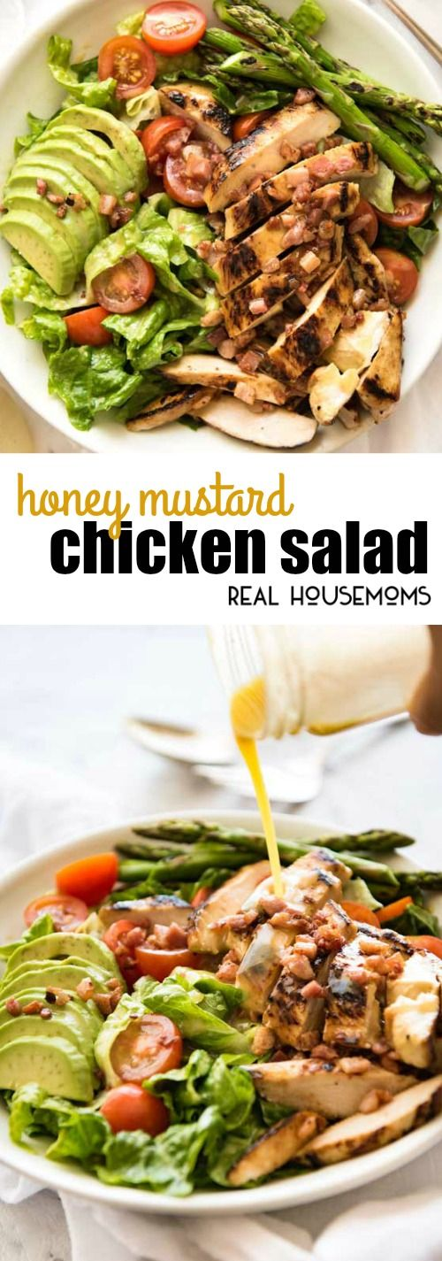 This Honey Mustard Chicken Salad is not just another salad. My secret tip for this recipe is that the gorgeous honey mustard dressing does double duty as both a slather for the chicken and the dressing for the salad! via @realhousemoms