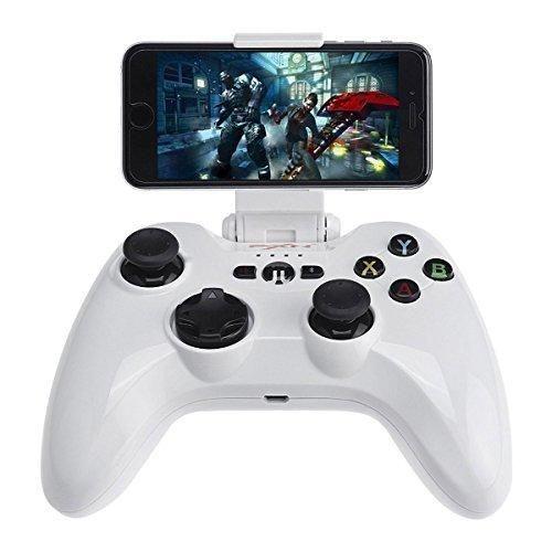 Apple MFi Certified Bluetooth Wireless Gamepad Megadream IOS Gaming Game Controller Joystick for Apple iPhone 7 6S Plus 6 5S 5 4S iPad Air 2 iPad Mini 4 3 iPad Pro Apple TV iPod Touch 5 - White
