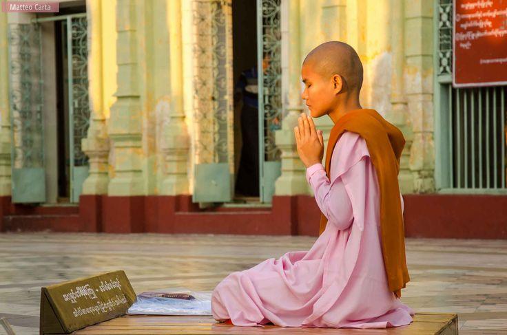 https://flic.kr/p/TFp8pz | The Praying Nun | A Buddhist nun prays in the Shwebontha Muni Pagoda in Pyay, Myanmar