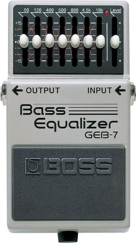 BOSS GEB-7 Equalizer The GEB-7 is the graphic EQ that's made for bass players! Its 7 bands of equalization are specifically set up to be utilized on the most important frequencies of the bass guitar.