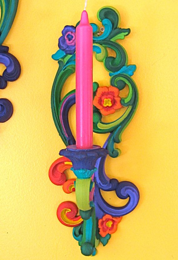 Hand Painted HOMCO Double Wall Candle Holder