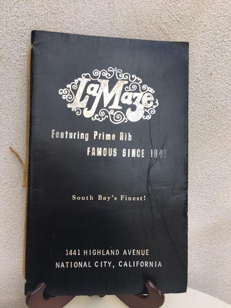 "Vintage 1960s Menu La Maze Restaurant National City Ca With Cover 14.5""x9""  | eBay"