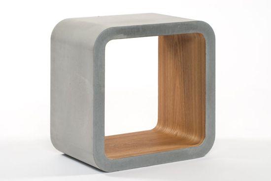 Мебель из бетона. Внутри -- натуральное дерево.
