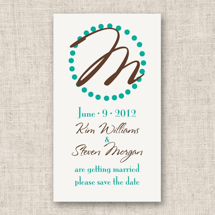 Circle Initial Save the Date Wedding Magnet | #exclusivelyweddings | #brownwedding