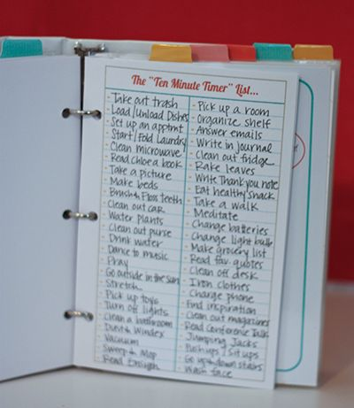 Like her ten minute timer list and one hour project list -- for household binder- time management.