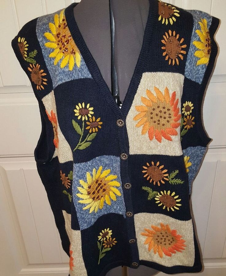 VTG WHITE STAG 22-24 Sunflower EMBROIDERED Sweater Vest Teacher Fall vintage | Clothing, Shoes & Accessories, Women's Clothing, Sweaters | eBay!