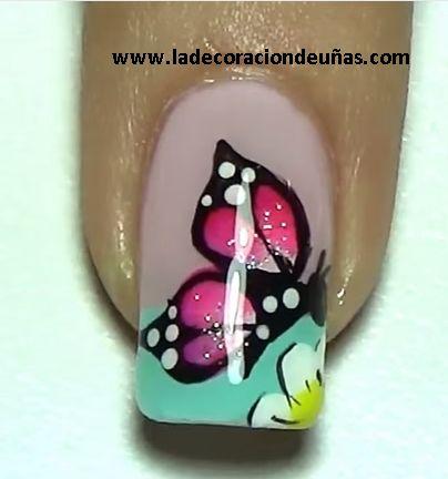 uñas decoradas de los pies con mariposas - Buscar con Google
