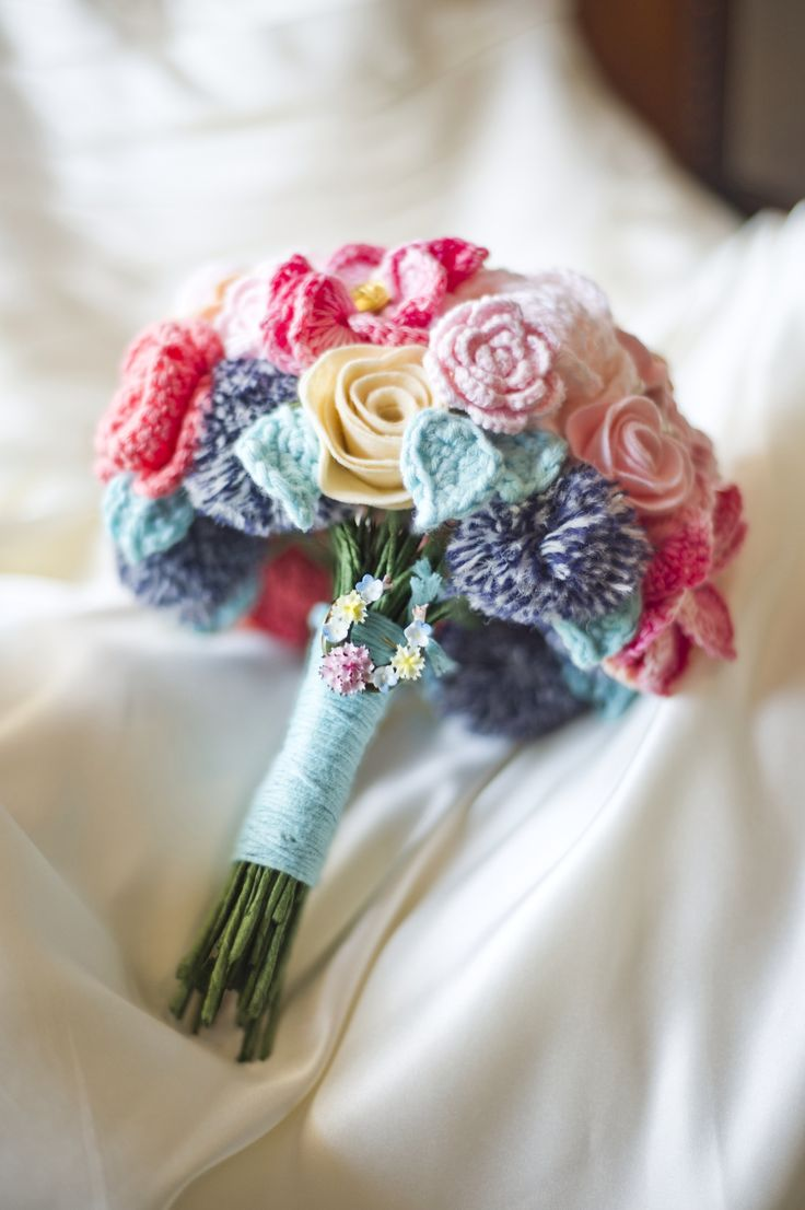 Bride bouquet of crochet flowers felt buttons brooch Pom pom wedding