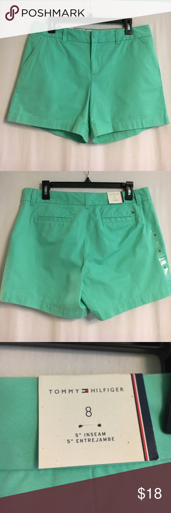 NWT Tommy Hilfiger Mint Green Shorts 100% Cotton. Size 8. Tommy Hilfiger Shorts
