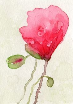 Poppies Impression Giclee PRINT from watercolor painting 5x7