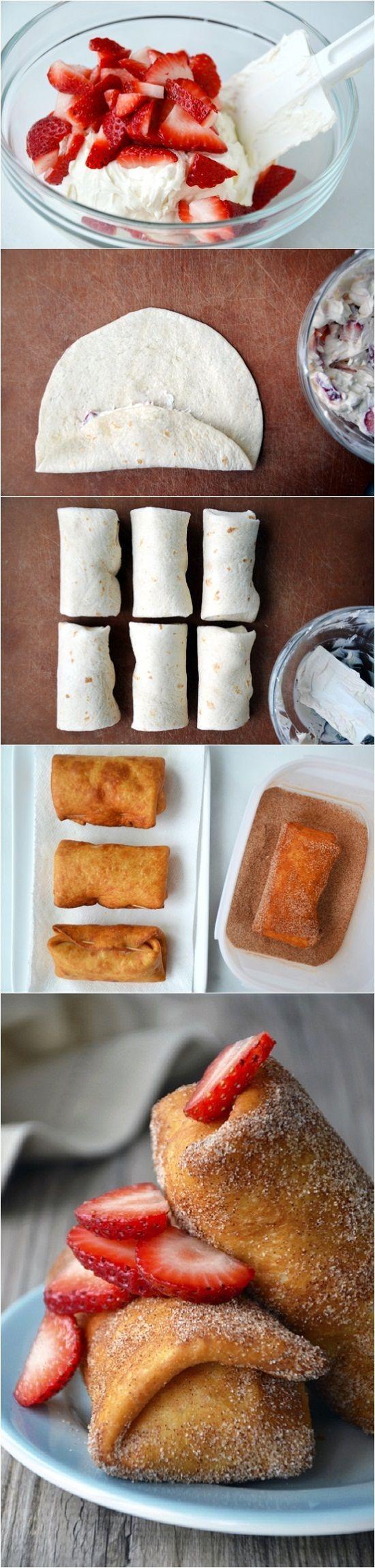 Crepas de fresa y queso crema, encuentra más postres en http://www.1001consejos.com/