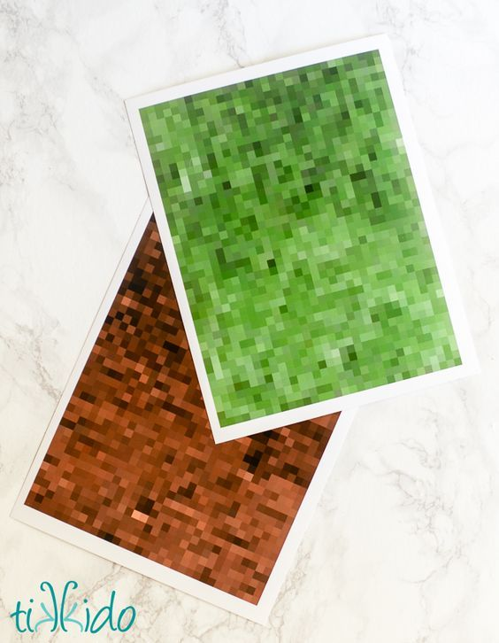 Free printable pixelated minecraft style scrapbook papers.