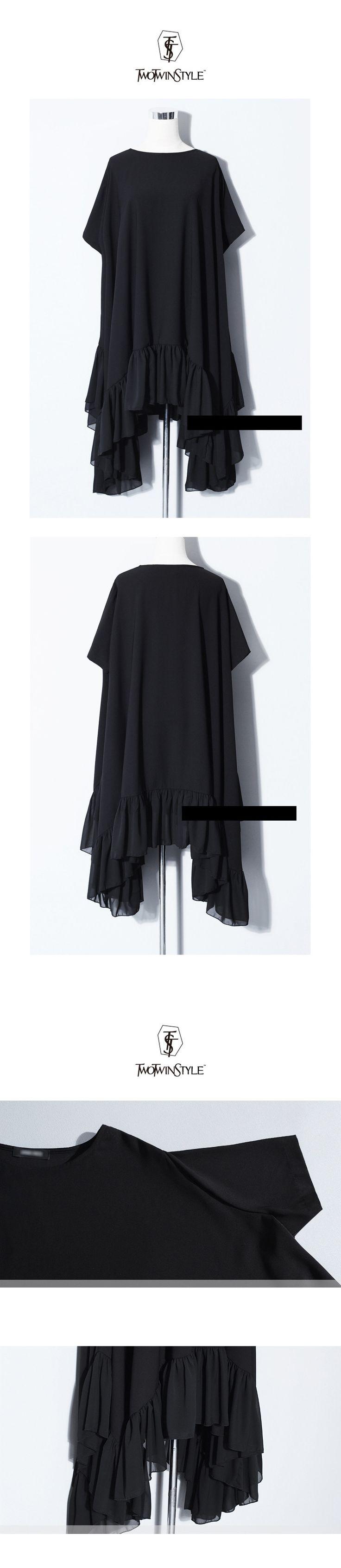 Aliexpress.com: Acheter [TWOTWINSTYLE] 2016 Mode Irrégulière Volants En Mousseline de Soie Robe Femmes Beauté Vêtements Noir Nouvelle D'été de femmes robe pantalon fiable fournisseurs sur TWOTWINSTYLE