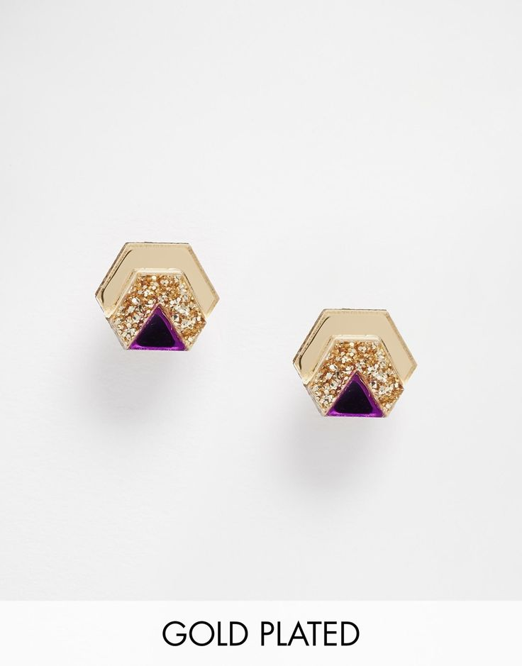 Image 1 - Wolf & Moon - Boucles d'oreilles hexagonales scintillantes