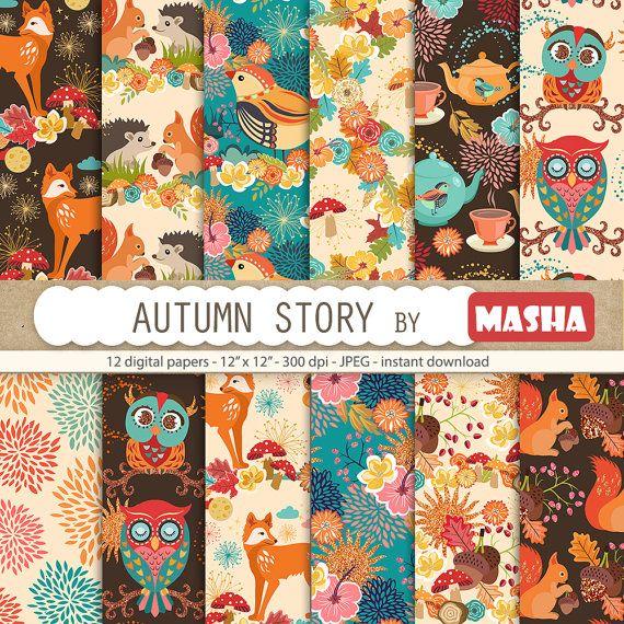Autumn digital paper: AUTUMN STORY with fox pattern by MashaStudio #autumn #digital #paper #fall #patterns #fox #pattern #owl #squirrel #hedgehog #bird #teapot #background #images #download #masha #studio