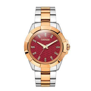 Γυναικείο μοντέρνο αδιάβροχo ρολόι BREEZE Star-Blazed 7105318 με βυσσινί καντράν και δίχρωμο ροζ μπρασελέ | Ρολόγια BREEZE ΤΣΑΛΔΑΡΗΣ στο Χαλάνδρι #breeze #star-blazed #μπρασελε #watches #ρολόγια