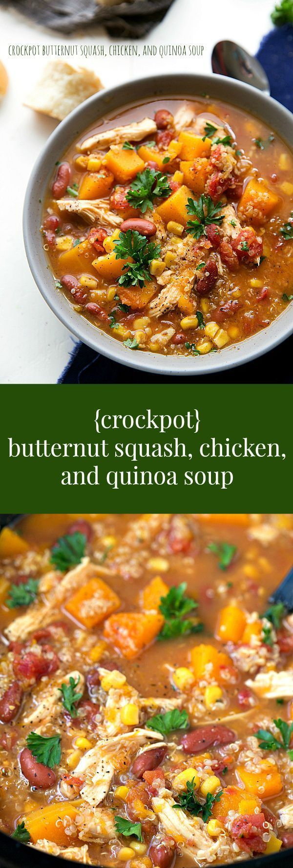 Dump it and forget it!! A super simple slow cooker butternut squash, chicken, and quinoa soup. The crockpot does all the work! #chicken #quinoa #recipe