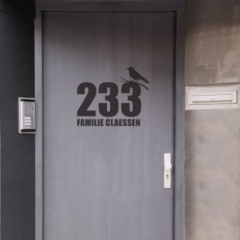 Bird on frontdoor number
