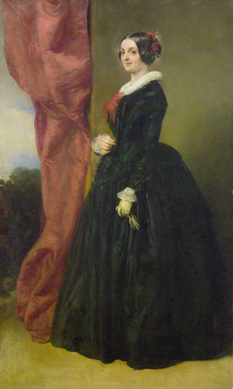Brocky Károly: Fekete ruhás nő, 1850 körül