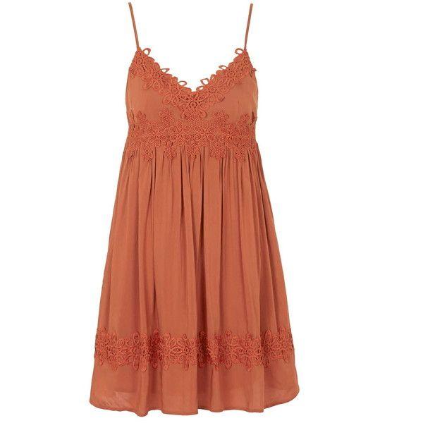 TOPSHOP PETITE Babydoll Applique Sundress found on Polyvore featuring polyvore, fashion, clothing, dresses, vestidos, petite, rust, sundress dresses, strap dress and sun dresses