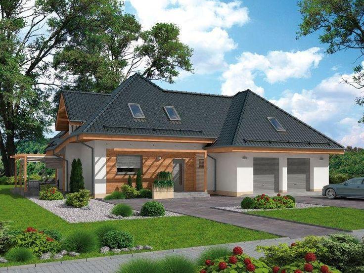 """""""Vitoria"""" - dom mieszkalny wolnostojący parterowy niepodpiwniczony. Budynek o zwartej bryle, parterowy z poddaszem użytkowym. Nowoprojektowany budynek swoją formą winiem do zabudowy występującej w sąsiedzteiw planowanej inwestycji."""