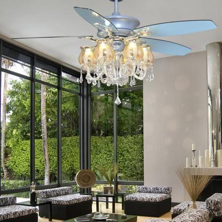 Luxury Crystal F682 15 Triple Ceiling Fan Light Modern Brief Fashion With Decoration