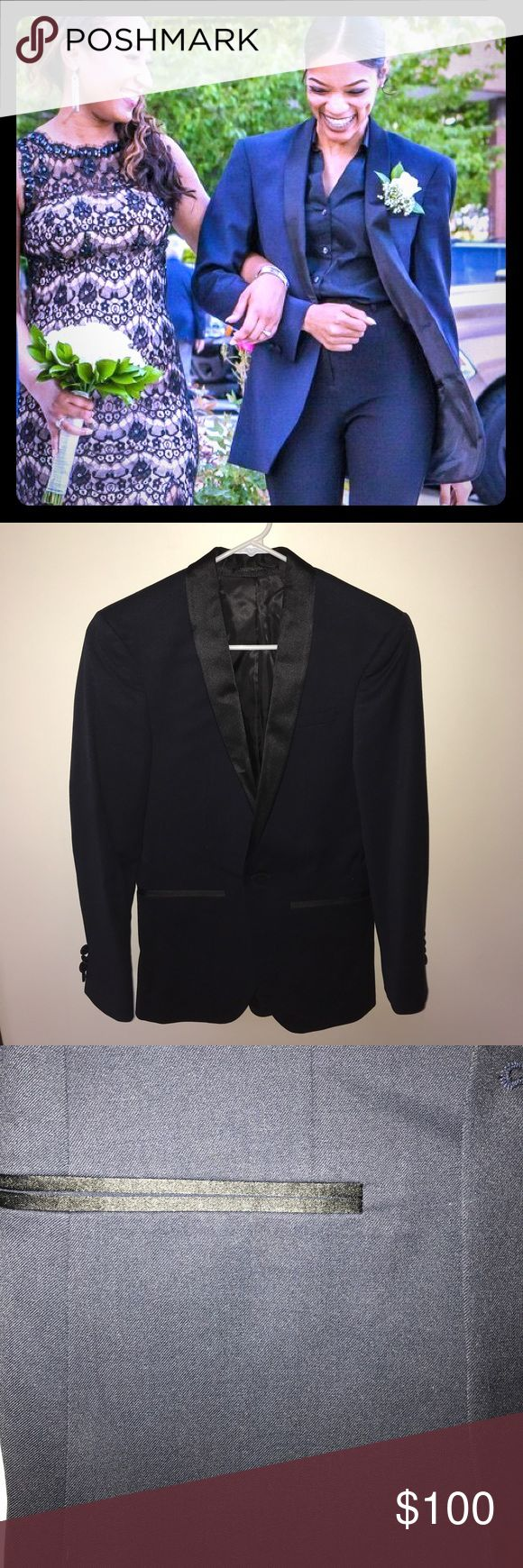 Navy blue blazer Men's navy blue blazer but altered to fit a woman! Navy blue blazer with black lapels! Worn once for a wedding, still in great condition! ASOS Jackets & Coats Blazers