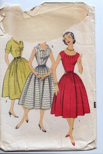 Vintage 1950s Swing Skirt Three Top Dress Pattern Advance 8524 bust 32 | PenelopeRose - Supplies on ArtFire