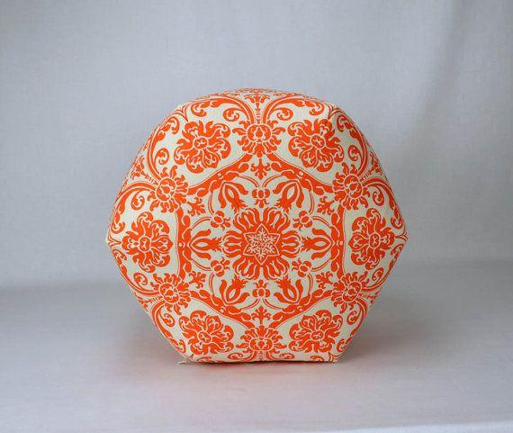 "18"" Pouf Ottoman Pillow in Mandarin Orange and Natural Damask Premier Abigail"