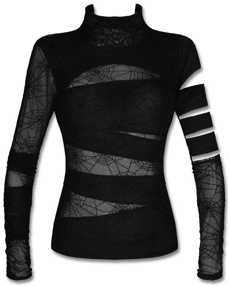 Punk Rave Black Widow Top Gothic Long Sleeve Spider Web Mesh Slash Bandage 46.20 $ from ebay