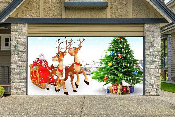 Christmas Decor For Garage Door Santa Claus Garage Door Etsy Christmas Door Decorations Christmas Decorations Christmas Door