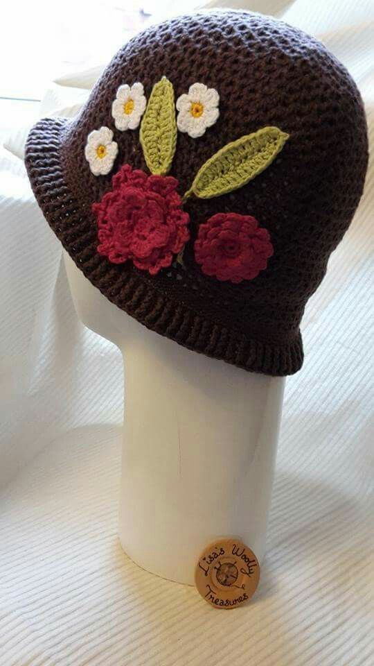 Beautiful embellished hat all crochet by me