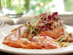 Maple-Mustard-Mixed Pepper Glazed Salmon with Brussels Sprout Slaw Recipe : Bobby Flay : Food Network - FoodNetwork.com