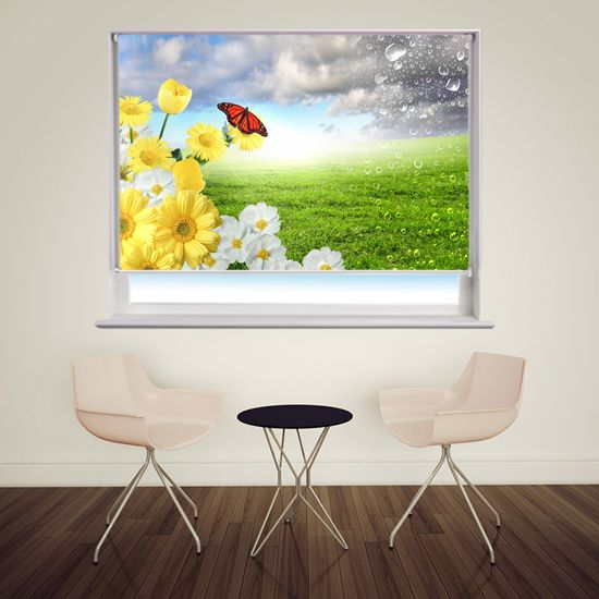 Floral scene with butterfly printed window blind