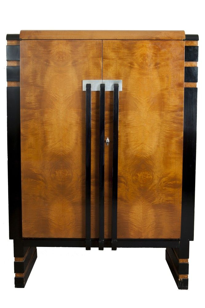 Donald Deskey Art Deco Walnut Burl China Cabinet for Hastings Table Company